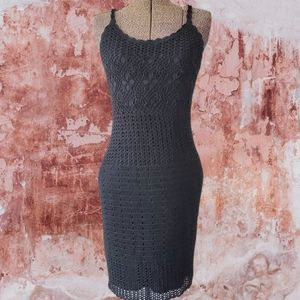 Vintage 90's black crochet dress